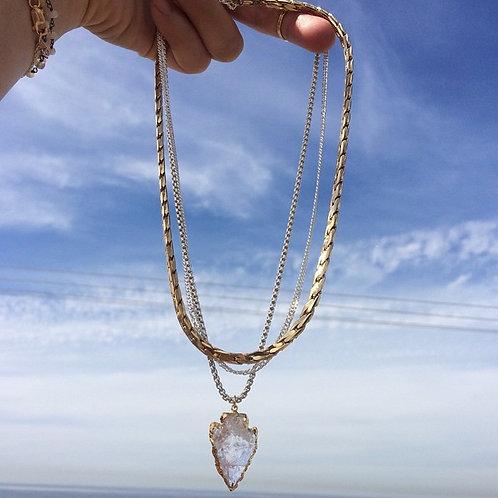 Triple Chain Crystal Arrowhead Necklace