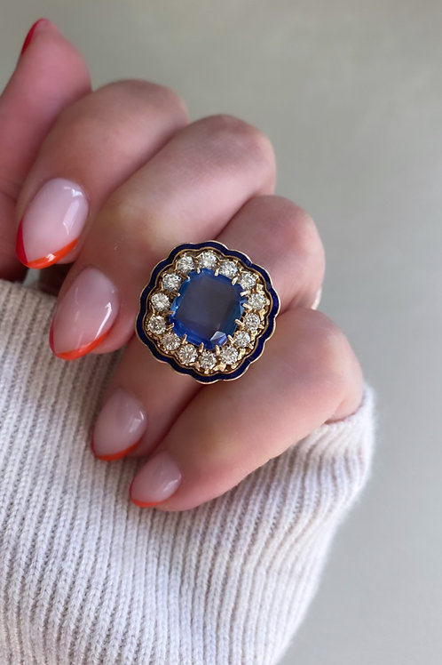 Antique Victorian Revival UNHEATED Sapphire, Diamond and Enamel Ring
