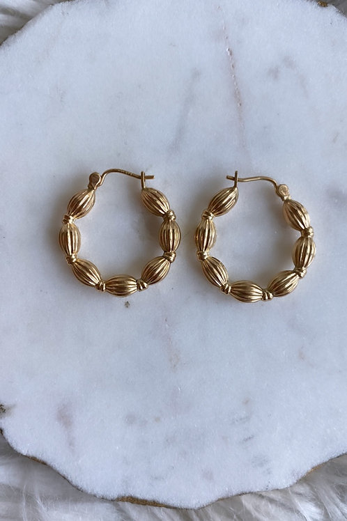 Vintage 14k gold Ball Hoops