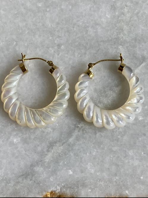 Vintage Mother of Pearl 14k gold Hoop Earrings