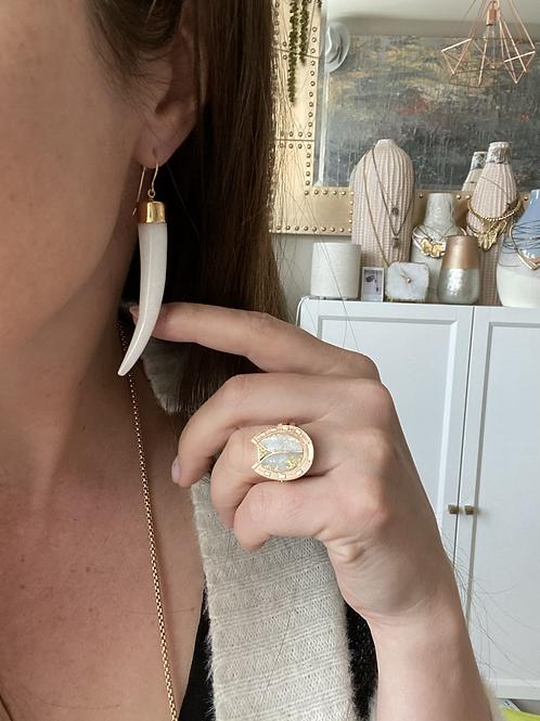 White Jade Horn Earrings