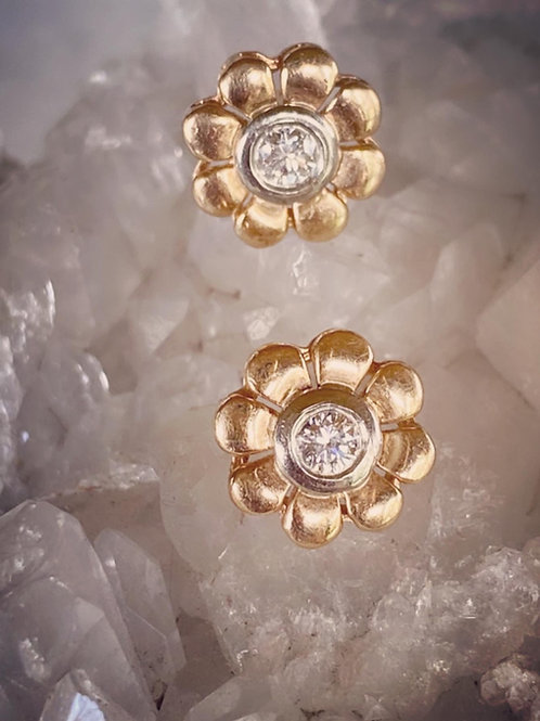 Vintage Diamond Flower Stud Earrings