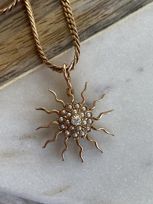 Vintage diamond and pearl sunburst pendant necklace