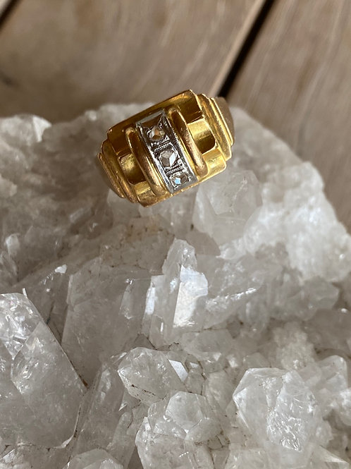 Vintage French Diamond Tank Ring