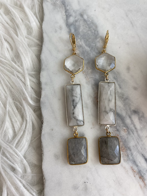 Rock Crystal, Howlite and Quartz Drop earrings