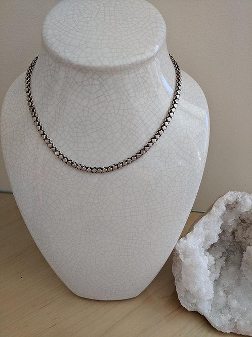 Vintage Sterling Silver Diamond Pattern Chain