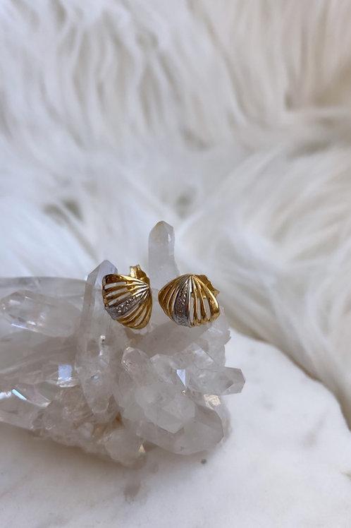 Vintage Mini Seashell and Diamond Earrings