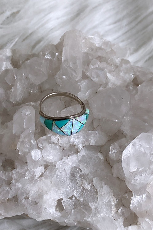 Vintage Sterling Silver Turquoise Opal inlay ring