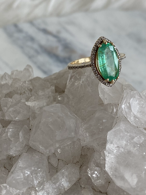 Marquise Emerald and Diamond Ring