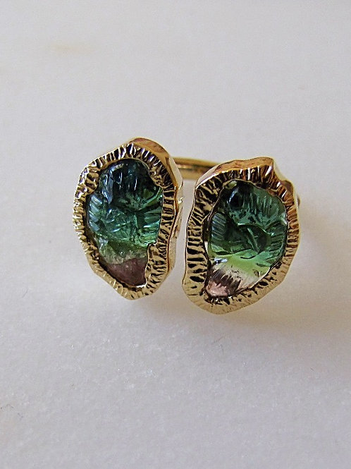 One of a Kind Hand Carved Watermelon Tourmaline Tropical Leaf Cuff Ring