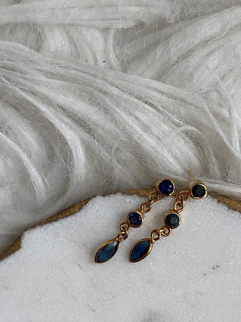 Vintage 9k gold sapphire drop earrings