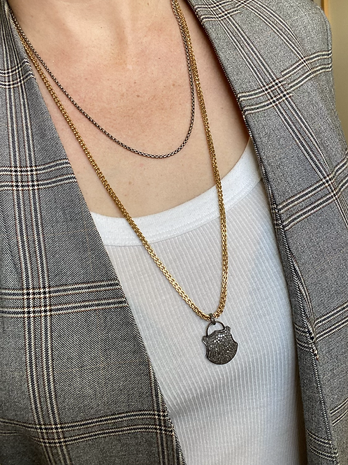 Vintage Repurposed Mixed Metal padlock necklace