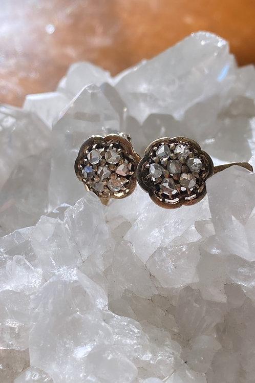 Antique Diamond Flower Cluster Earrings