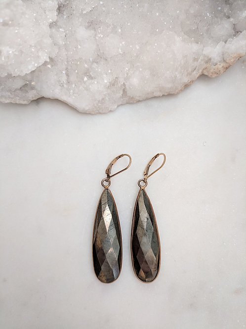 Large Pyrite teardrop earrings