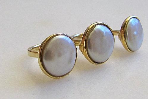 Triple Biwa Pearl Double Cuff Ring