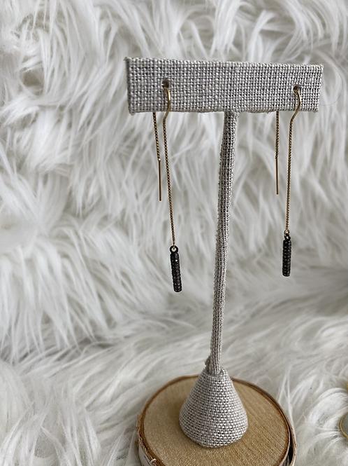 Pave diamond cylinder ear threaders
