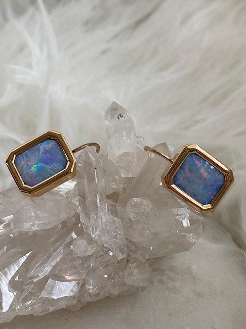 Vintage Opal Cufflink Conversion Earrings