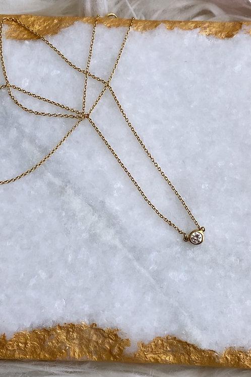 14k yellow .15 carat Diamond bezel solitaire necklace