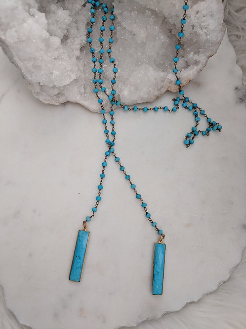 Turquoise Bar Wrap Necklace