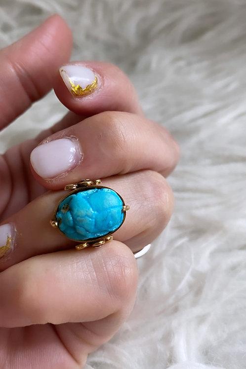 Vintage Scarab Swivel Flip Ring
