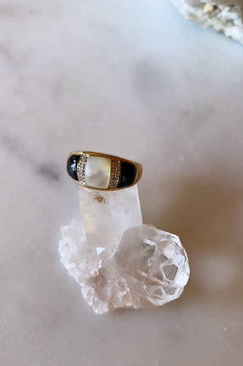 Vintage Black Onyx, Diamonds and Mother of Pearl Ring