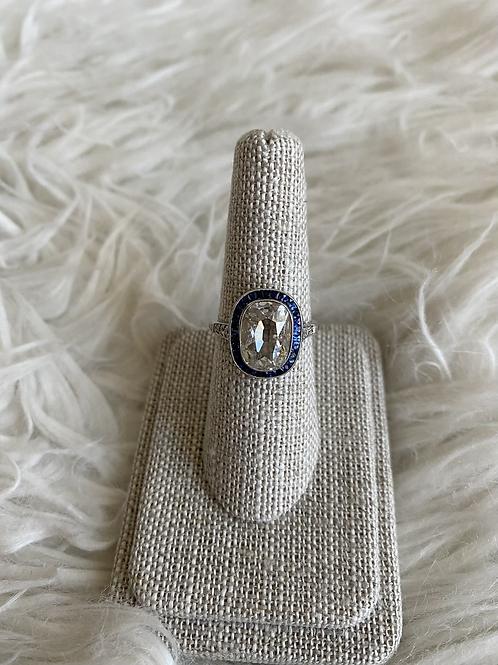 Antique 2.88 carat Diamond and sapphire ring