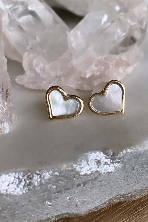 New 14k gold Mother of Pearl Heart studs