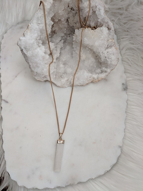 Simple Selenite Bar necklace