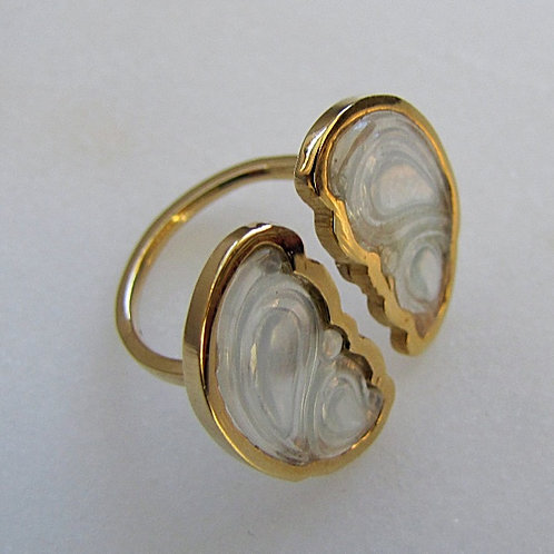 One of a Kind Hard Carved White Jade Reverse Butterfly Wing Cuff Ring