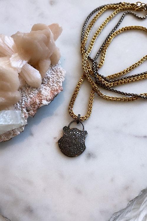 WYSH Vintage Repurposed Diamond Pave Lock Necklace