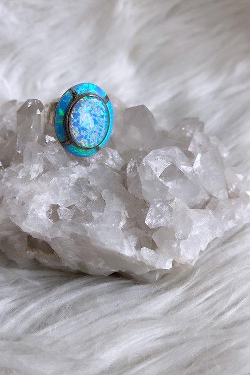 Vintage 1970's Opal Sterling Statement ring