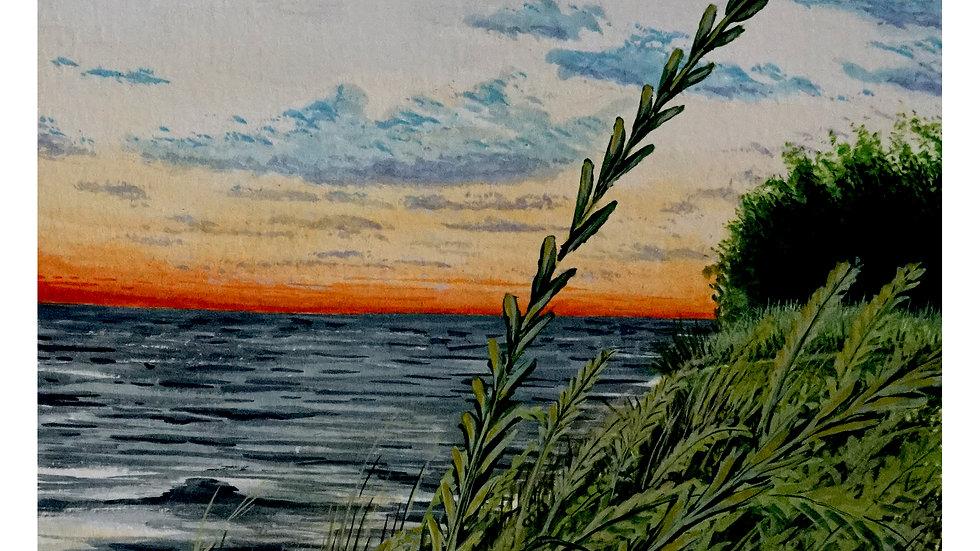 beach sunset a 6x8