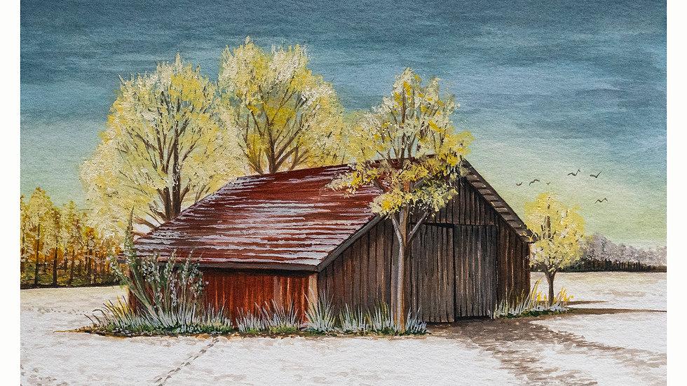 Snowy Barn 6 x 8