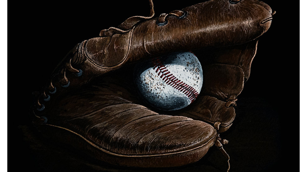 Old ball glove and ball 8x10