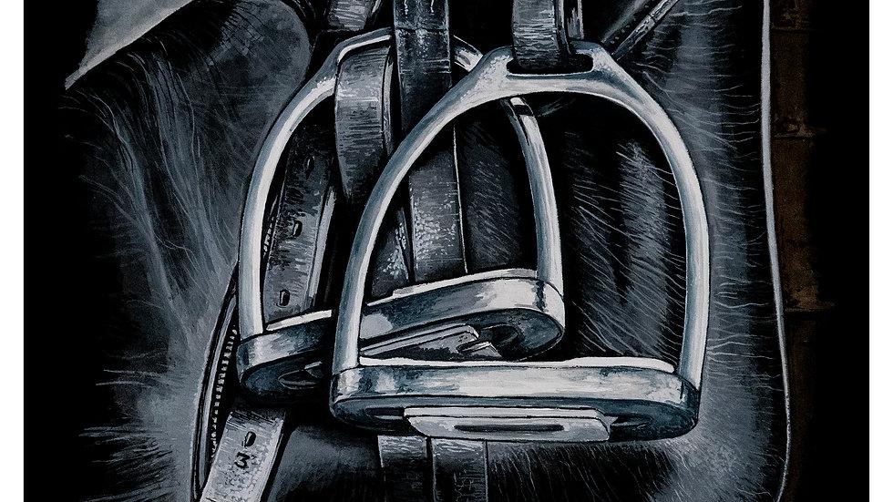 black old saddle 9x12
