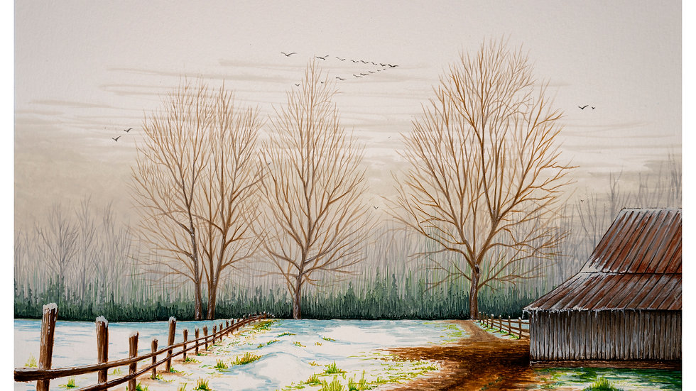 3 trees barn 9x12