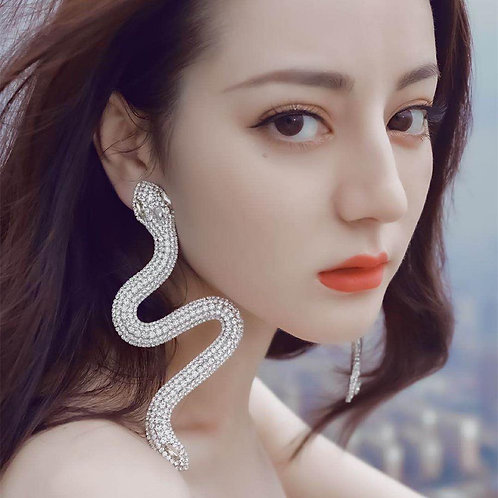 Shiny Full Rhinestone Snake Big Dangle Earings Women Fashion Jewelry