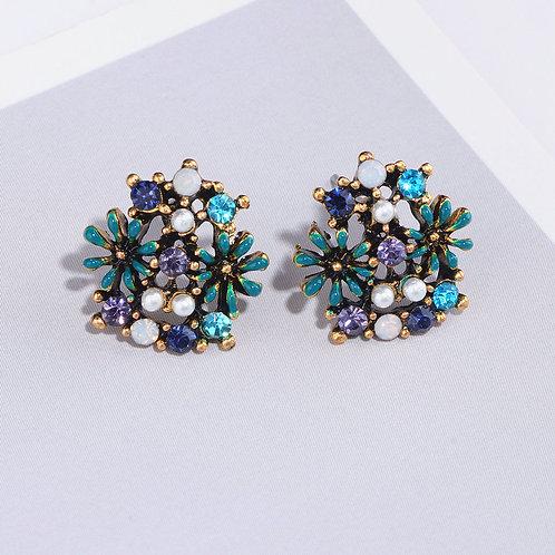 Vintage Sweet Cute Flower Stud Earrings for Women 2019 New Fashion