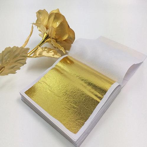 100pcs 14x14cm Art Craft Design Paper Imitation Gold Silver Leaf
