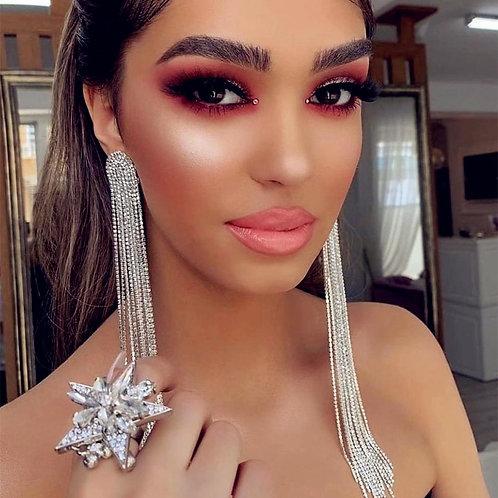 Women Fashion Shiny Rhinestone Long Chain Dangle Earrings Jewelry