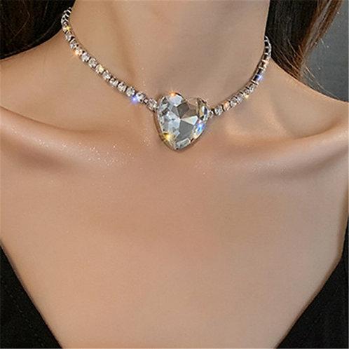 FYUAN Shine Big Heart Crystal Choker Necklaces for Women Geometric
