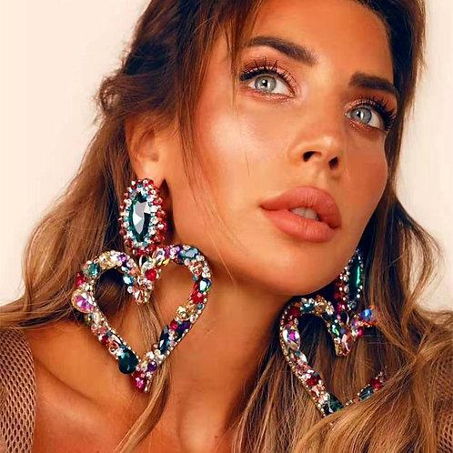 New Design Shiny Crystal Rhinestone Heart Pendant Dangle Earrings For
