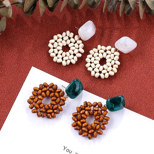 AENSOA 2019 New Earrings Vintage Wooden Beads Drop Earrings For Women