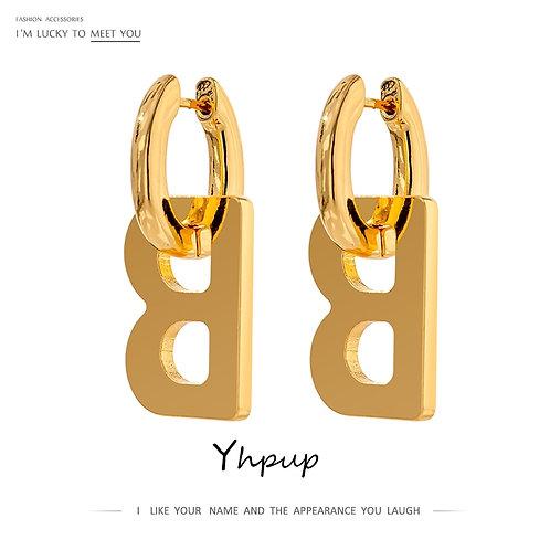 Yhpup Trendy Letter B Metal Hoop Earrings Simple Metal 18 K Plated