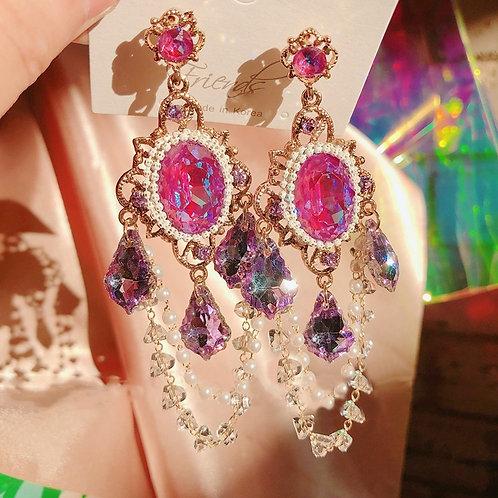 MENGJIQIAO Korean Vintage Luxury Colorful Cystal Drop Earrings For