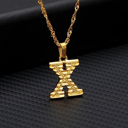 stainless steel hip hop jewelry intials necklace