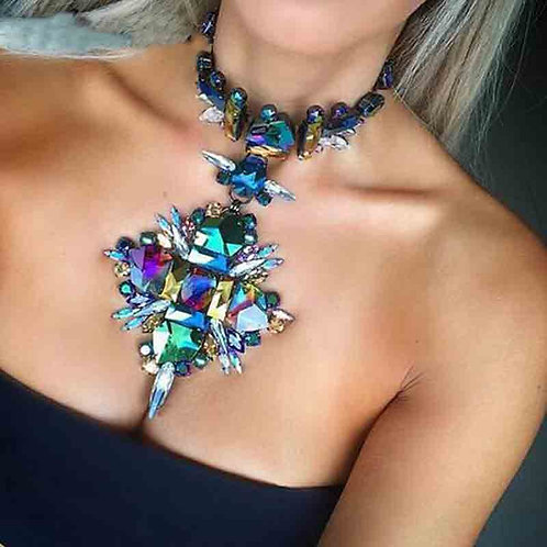 2020 Summer Geometric Fashion Crystal Choker Necklace Women Wedding