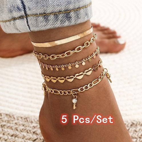 5 Pcs/Set Anklets for Women
