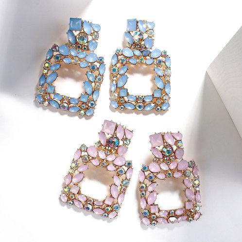 AENSOA Wholesale New Big Long Crystal Hollow Out Drop Earrings Women
