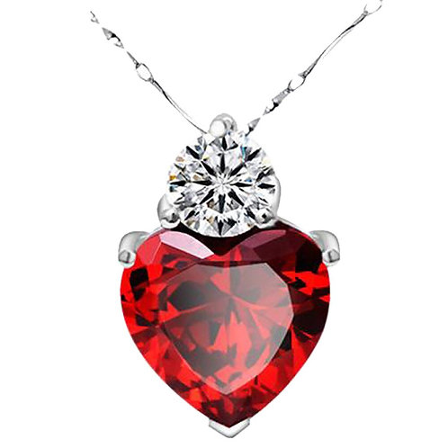2020 Trendy Woman Necklace Red Garnet Heart Crystal Pendant Necklace